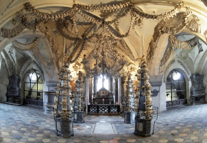 Interior of the Sedlec ossuary (Kostnice), Czech Republic